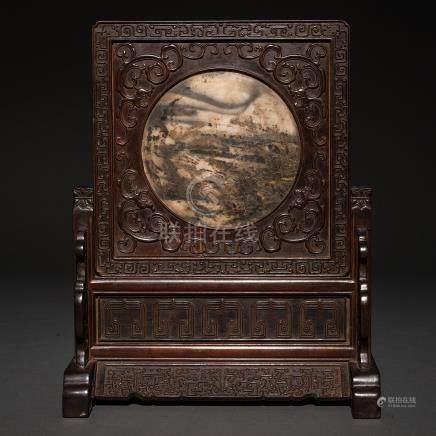 Biombo de mesa en madera tallada. Trabajo chino, Siglo XX