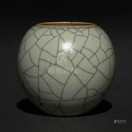 Recipiente en porcelana china gris craquelada. Trabajo Chino, Siglo XX