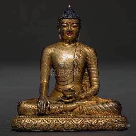 Buda tibetano realizado en bronce dorado. Siglo XIX