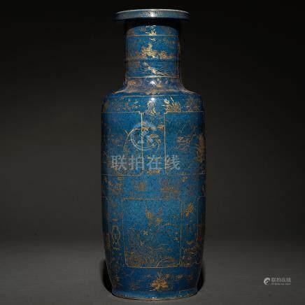 Jarrón en porcelana china azul cobalto. Trabajo Chino, Siglo XIX