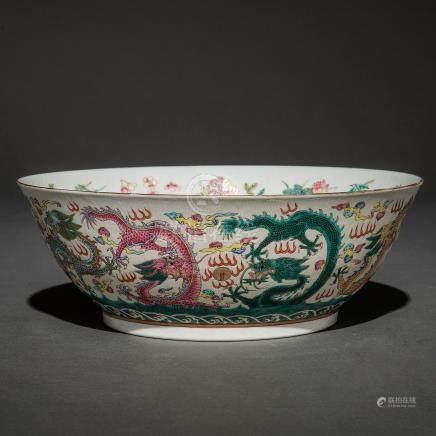 Centro en porcelana china familia rosa. Trabajo Chino, Siglo XIX-XX
