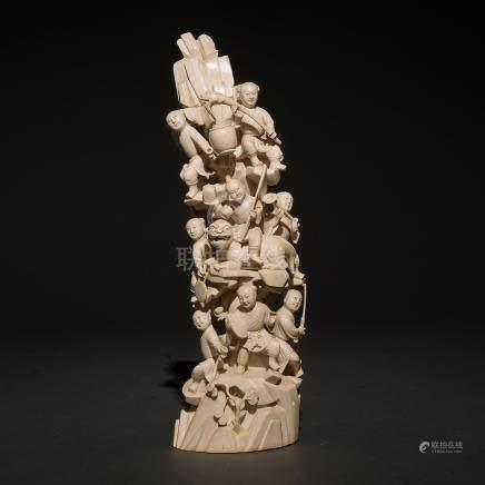 """""""Niños Músicos"""" Grupo escultórico en marfil tallado. Trabajo Chino, Finales del Siglo XIX-XX"""