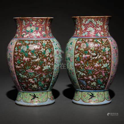 Pareja de jarrones en porcelana china familia rosa. Trabajo Chino, Siglo XIX-XX