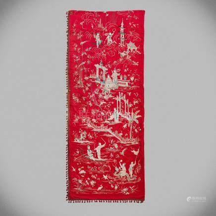 Seda China realizada en seda bordada. Trabajo chino, Siglo XIX - XX