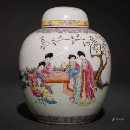 Tibor en porcelana china. Trabajo Chino, Siglo XX