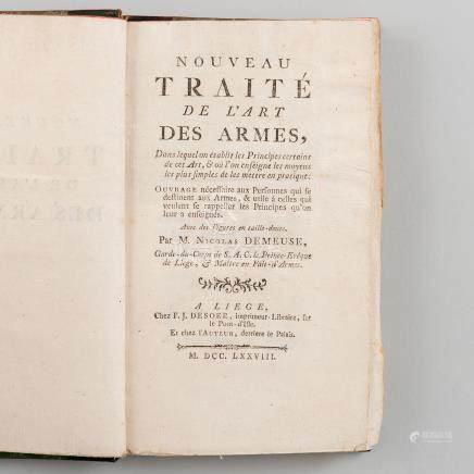 Nouveau traite de l´art des armes, dans lequel on établit les principes certains de cet art 1778.