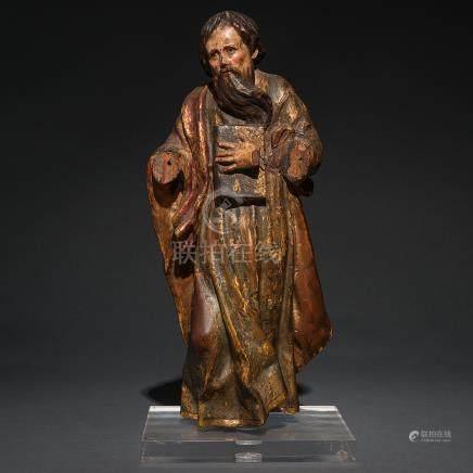 """""""Apostol"""" Escultura exenta o de bulto redondo en madera tallada y policromada. Trabajo Español, Siglo XVI"""