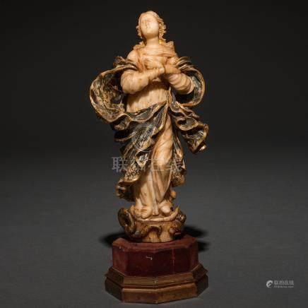 """""""Inmaculada"""" Escultura exenta de bulto redondo en alabastro policromado. Siglo XVIII"""