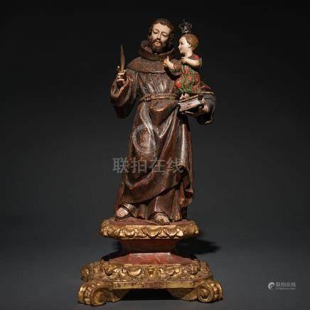 """""""San Antonio de Padua"""" Escultura exenta o de bulto redondo en madera tallada y policromada. Siglo XVIII"""