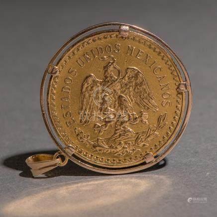 Moneda de 50 pesos Mexicanos en oro amarillo de 900 mm.