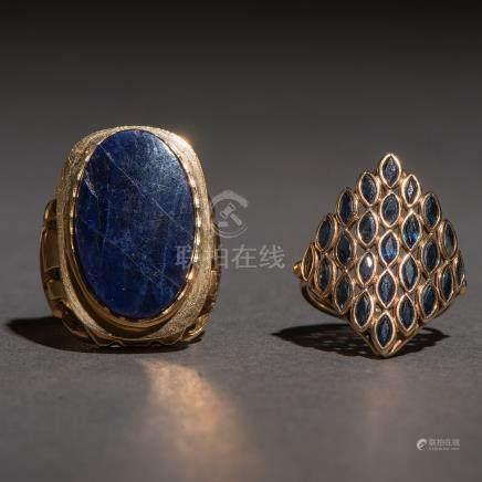 Conjunto de dos anillos con montura en oro amarillo de 18 Kt.