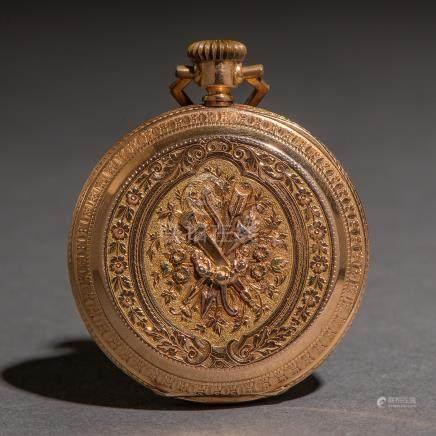Caja de reloj son maquinaria en oro amarillo de 18 Kt.