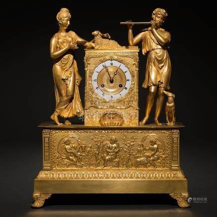 """""""Alegoría de la Música"""" Reloj de sobremesa francés en bronce dorado del siglo XVIII"""