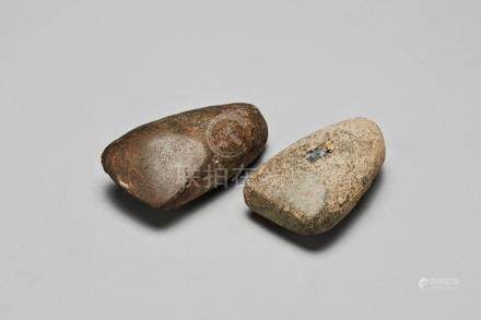 2 NEOLITHIC STONE AXE HEADS