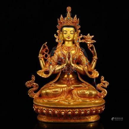 Vintage Tibetan Buddhism Gilt Gold Red Copper Inlay Gems Fou