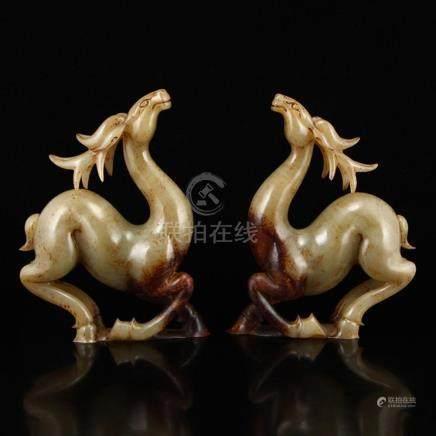 A Pair Vintage Chinese Hetian Jade Lucky Deer Statue