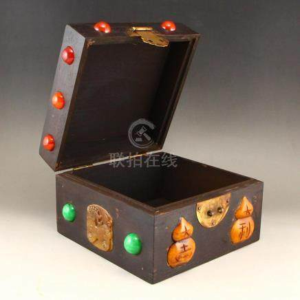 Vintage Chinese Zitan Wood Inlay Jade & Gems Jewelry Box