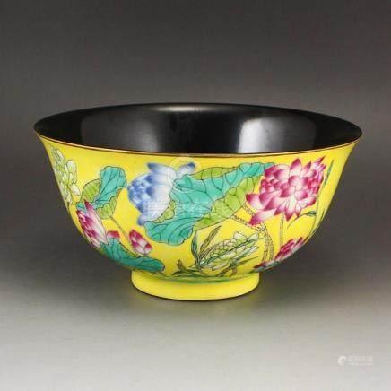 Chinese Yellow Glaze Famille Rose Porcelain Bowl w Kang Xi M