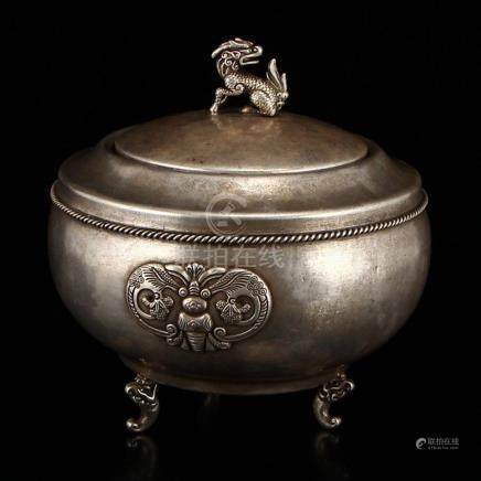 Vintage Chinese White Copper Incense Burner w Kylin
