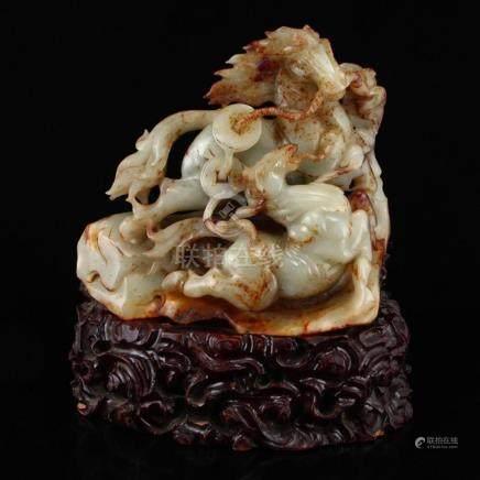 Vintage Chinese Hetian Jade Statue - Fortune Horses