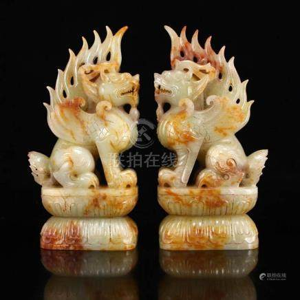 A Pair Vintage Chinese Hetian Jade Lucky Kylin Statues