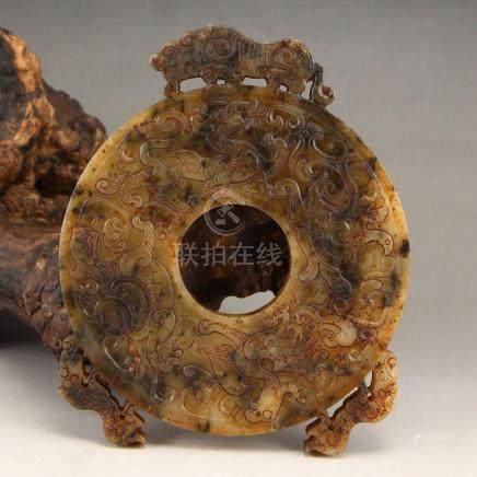 Vintage Chinese Hetian Jade Lucky Beasts Pendant