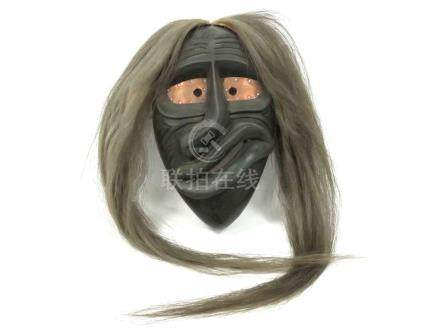 EASTERN WOODLANDS FALSE FACE MASK, OLD BROKEN NOSE. HEIGHT 1