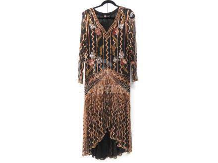 ROMANO/ITALY BEADED COCKTAIL DRESS. SIZE 6/8