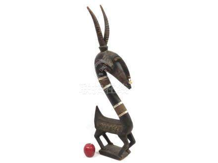 BAMBARA, MALI, CARVED ANTELOPE HEADDRESS. HEIGHT 39""