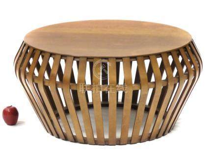 DESIGNER MODERN FRUITWOOD SLAT-FORM LOW ROUND TABLE. HEIGHT