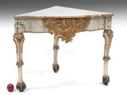 ITALIAN BAROQUE CARVED/PAINTED AND GILT CORNER STAND, 18TH C