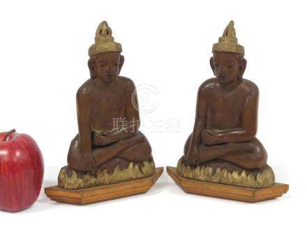 PAIR SRI LANKA CARVED AND PARCLE-GILT PLAQUES OF BUDDHA. HEI