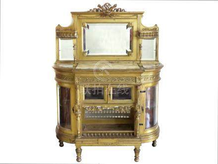 LOUIS XVI STYLE CARVED/GILT VITRINE WITH ONYX INSET TOP. HEI