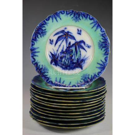 "Thirteen Mid 19th Century SAU Co. ""Bamboo"" Plates"