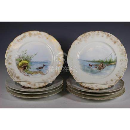 H & Co. Hand Painted Beach and Sea Life Plates