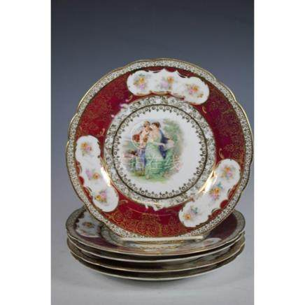 Carlsbad Austria Neoclassical Scene Porcelain Salad Plates