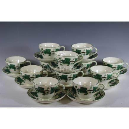 "Eight ""Napoleon Ivy"" Wedgewood Cups and Saucers"
