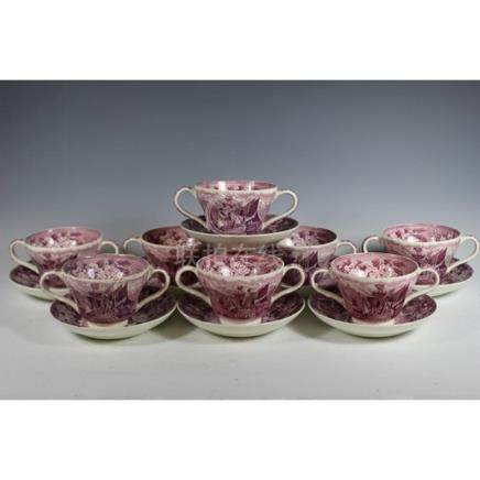 "Wedgwood ""Ferrara"" Pattern Cups and Saucers"
