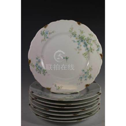 Eight C. Ahrenfeldt Limoges Diner Plates