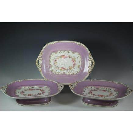 Three 19th C. Rockingham Dessert Service