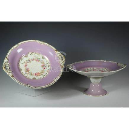 Two 19th C. Rockingham Dessert Compotes