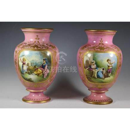Pair of Early English Hand painted Vases