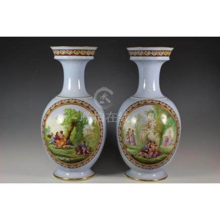Pair of 20th C. Porcelain English Vases