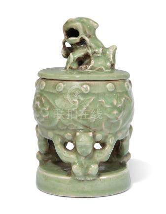 A CELADON-GLAZED CENSER, COVER AND STAND