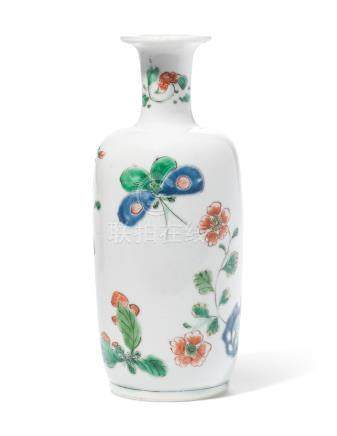 A FAMILLE VERTE 'BUTTERFLY AND FLOWER' VASE