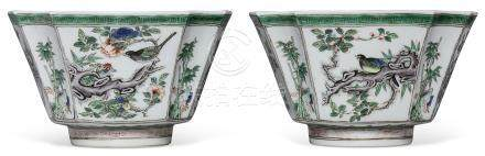A PAIR OF FAMILLE VERTE SQUARE BOWLS