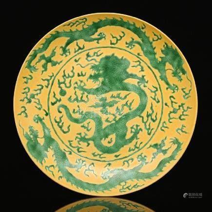 Qing Emperor Kangxi golden glazed bucket color dark