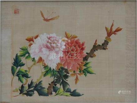 A Chinese watercolour painting on silk depicting a butterfly and flowers, framed & glazed, 35 by