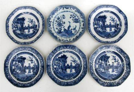 Five 18th century blue & white plates of octagonal form, decorated with figures within a