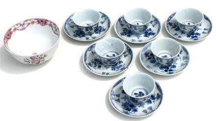 A set of Chinese Kangxi blue & white tea bowls and saucers, the saucers 10cms (4ins) diameter, the